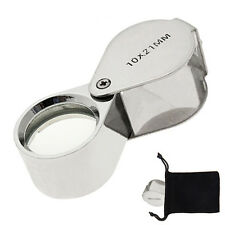 Jewelers Magnifying Loupe 10x Jewelry Magnifier Eye Glass Hand + Carrying Pouch
