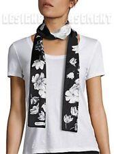 SALVATORE FERRAGAMO black TULI SKINNY long 2-sided silk twill scarf NIB Authentc