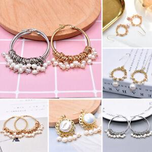 Women Christmas Gift Baroque Pearl Circle Hook Long Drop Dangle Earrings Jewelry