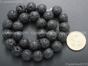 "Natural Black Volcanic Lava Gemstone Round Beads 4mm 6mm 8mm 10mm 12mm 15.5"""