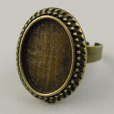 10pcs Antique Style Bronze Tone Alloy Tray Cameo Setting Ring Base 18mm 36687