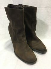 ALDO BROWN LEATHER SUEDE Womens Boots BOOTIES ANKLE SIDE ZIP HEELS FASHION
