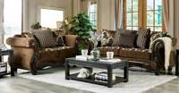 NEW Living Room Furniture Wood Trim & Brown Fabric Sofa Couch & Loveseat Set RD2