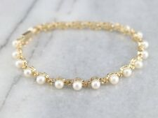 Vintage Pearl And Flower 14k Yellow Gold Finish Sterling Silver Link Bracelet