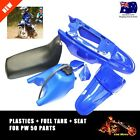 BLACK SEAT + FUEL/GAS TANK + BLUE PLASTICS for YAMAHA PW50 PEEWEE 50 PW 50 PY50