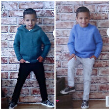 KNITTING PATTERN Boys Easy Knit Round Neck Jumper & Hoodie Chunky King Cole 4971