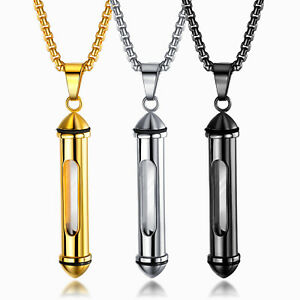 Andenken Halskette Edelstahl 55cm Kette Glas Zylinder Parfüm Urne Asche Anhänger