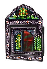 Moroccan Wall Mirror w/Doors Hand Painted Arabesque Handmade Home Decor Black