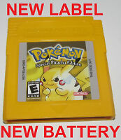 Pokemon Yellow Version w/ New Save Battery/Label Special Pikachu Edition GameBoy