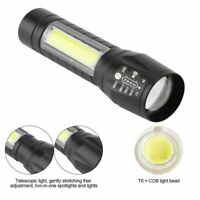 Portable T6 COB LED Tactical USB Rechargeable Zoomable Flashlight Torch Lamp 1PC