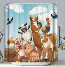 Farm Animals Fabric Shower Curtain 70x70 Child Kid Boy Girl Horse Sheep Pig Barn
