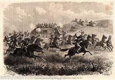 Antique print Butterfield Overland Mail company attack indian American postal