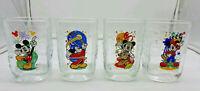 McDonald's Walt Disney World Mickey Mouse Set of 4 Glass Cups 2000 Studios Epcot