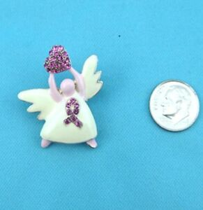 Heart Angel Pin Pink Austrian Crystal Breast Awareness Ribbon Brooch New