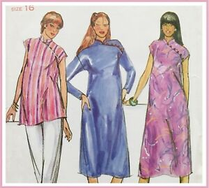 Vintage 70's ASYMMETRICAL BUTTON FASTENING MATERNITY DRESS & TUNIC (B3440)