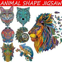 New Animal Shape Wooden Jigsaw Puzzles Pieces Adult Kid Education Toy Games UK