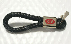 For KIA Leather Braided Metal Emblem RED Style Keychain Strap Key Fob Ring