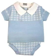 PEX Baby Boys  Knitted Spanish Style blue 2 piece set top jam pants 0-3 -9-12m