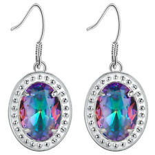 Luxury Artistic Style Rainbow Mystic Colored Topaz Gems Silver Hook Earrings