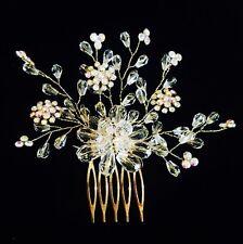 HAIR COMB Rhinestone Crystal Wedding Bridal Dancer French Twist GOlD Clear