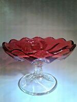 Vtg Elegant Pressed Glass Stem Pedestal Compote Candy Dish