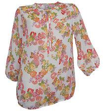 Tunika Chiffonbluse Gr. 38 creme bunt 3/4 Arm Blumen Bluse transparent