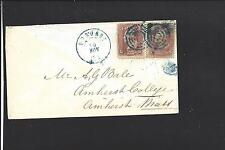 DUBUQUE, IOWA COVER,#65 (2) VF BLUE DCDS AND TARGETS. DUBUQUE CO 1837/OP