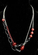 Sous Le Sable Under the Sand Red Silver Beaded Long Necklace RRP £65