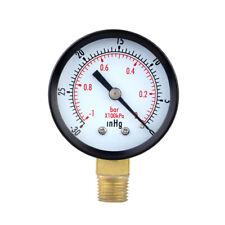0 30inhg 0 1bar 50mm 14bspt Mini Dial Pressure Gauge Meter Vacuum Manometer