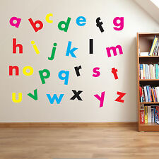 Nursery Alphabet Letters Lower & Upper Case Writing Wall Stickers Decal Kid A210 07 - Red Small