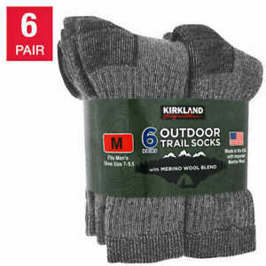 6 Pairs Kirkland Signature Merino Wool Men's Outdoor Hiking Trail Socks   B31