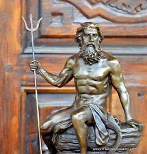 Mitologico Bronzo Figura - Nettuno con Firma dell'artista sul Base di marmo