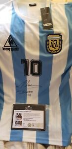 DIEGO MARADONA SIGNED JERSEY WITH PROOF and COA 1986 WC jersey