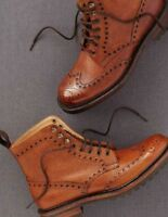 Handmade Men Tan Color Wingtip Brogue Boots, Men Ankle Leather Boots for mens