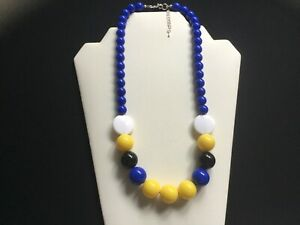 Women's Chunky Royal Blue, Yellow, Black And White Bead Necklace - Handmade