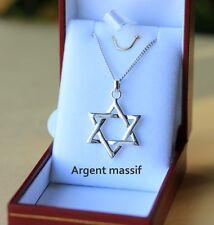 pendentif juif étoile de DAVID et chaine en argent massif 925 neuf avec ecrin