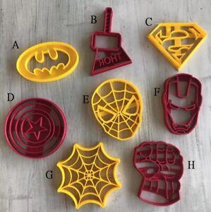 Super Hero Cookie Cutter & Embosser Fondant Cutter Set Spiderman Batman Thor
