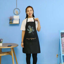 Women Bib Apron Waterproof Pockets Apron Adjustable Kitchen Baking Cooking Apron