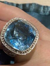 RARE Swarovski Crystal Large Azure Blue Cocktail Statement Ring Size 60