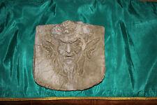 Antique Devil Demon Diabolical Cement Plaster Wall Plaque-Evil Looking Face