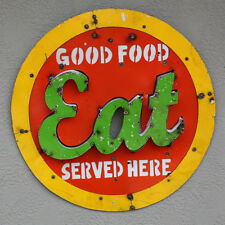 Metal Sign Good food Served here EAT Lodge Man Cave Home Decor Recycled Cafe