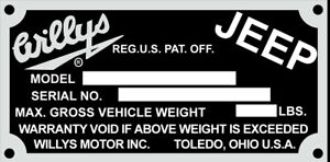 Willys Jeep VIN ID Data Plate Serial 1960s Can make most any plate car boat etc.