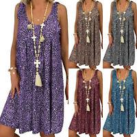 Oversize Women Retro Leopard Print Sleeveless Tunic Dress Summer Baggy Sundress