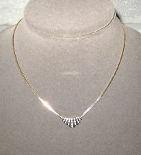 LQQK Beautiful 14K yellow GOLD Diamond Necklace on Foxtail Chain Ladies Must See