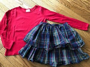 Girl's HANNA ANDERSSON Red Tee + Skirt Set - Size 140 (10)