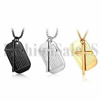 Fashion Stainless Steel Men's English Bible Verse Dog Tag Cross Pendant Necklace