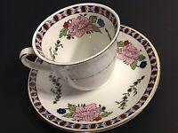 J G MEAKIN CUP & SAUCER. DEMITASSE PINK ROSES & GOLD ACCENTS VINTAGE ENGLAND