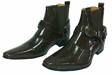 New Mens CowBoy Pointed Ankle Length Harness Boots Brown Sz 6 7 8 9 10 11 12