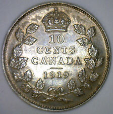 1919 Canada Canadian Silver Ten Cent Coin 10 Cents George V AU Almost UNC #Y2
