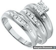 princess diamond .35 ct 3-ring 14K gold wedding band matching groom engagement